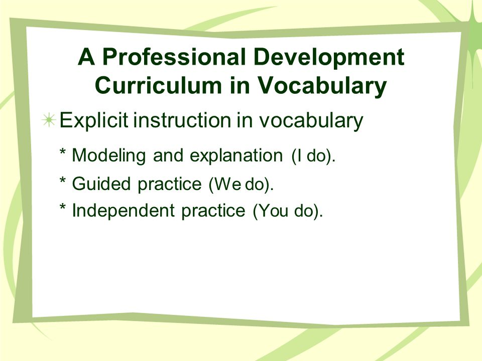 A Professional Development Curriculum in Vocabulary