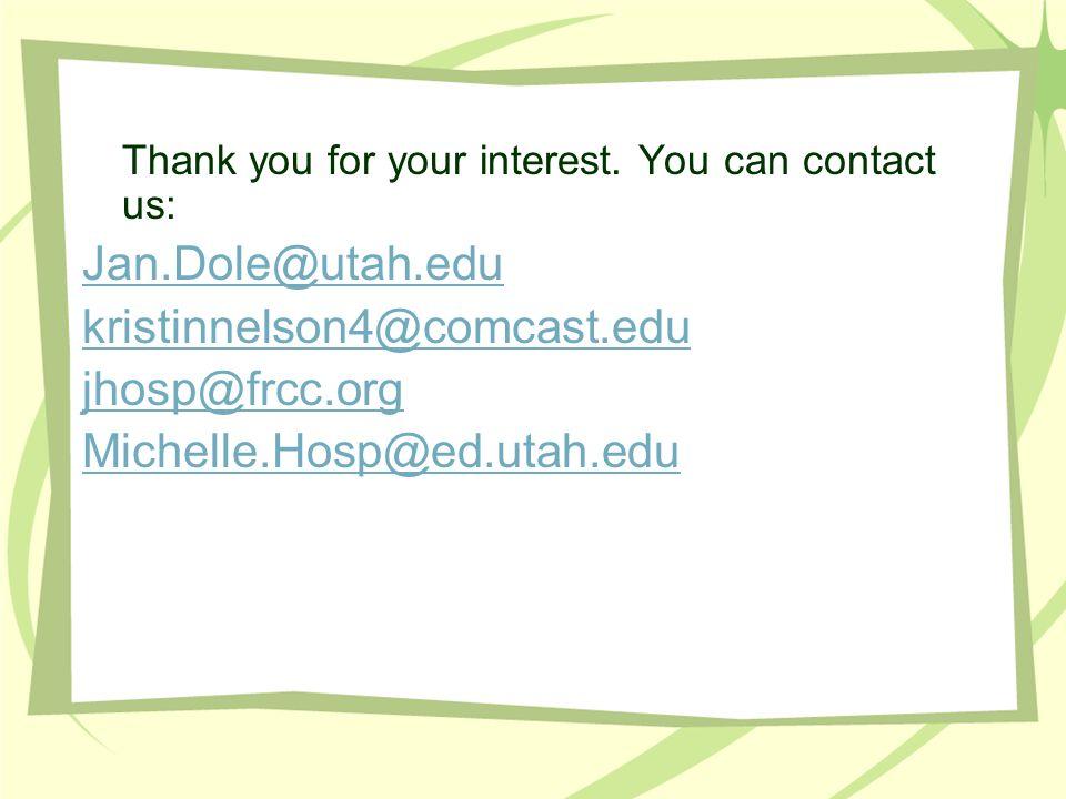 Jan.Dole@utah.edu kristinnelson4@comcast.edu jhosp@frcc.org
