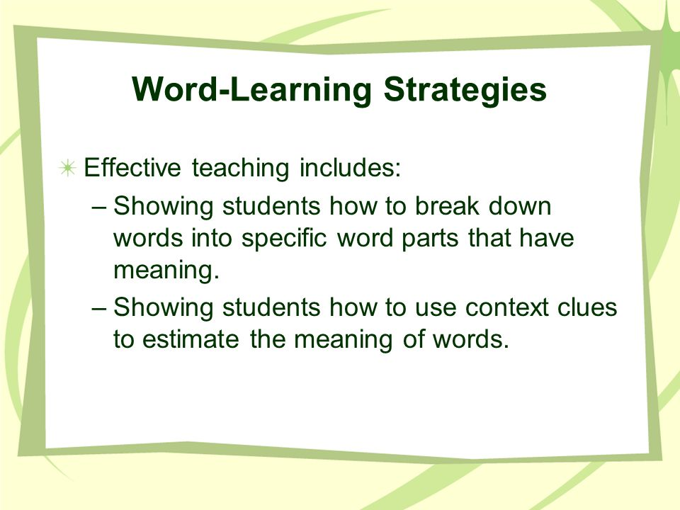Word-Learning Strategies