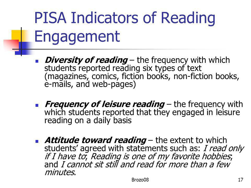 PISA Indicators of Reading Engagement