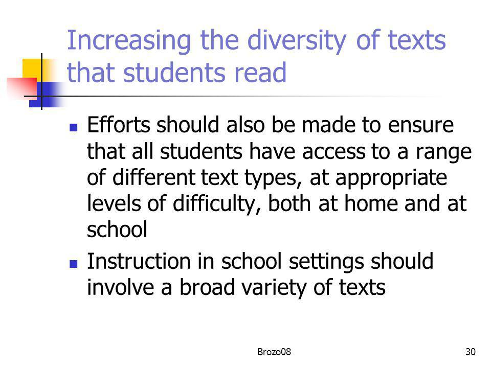 Increasing the diversity of texts that students read