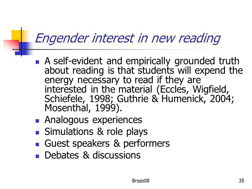 Engender interest in new reading