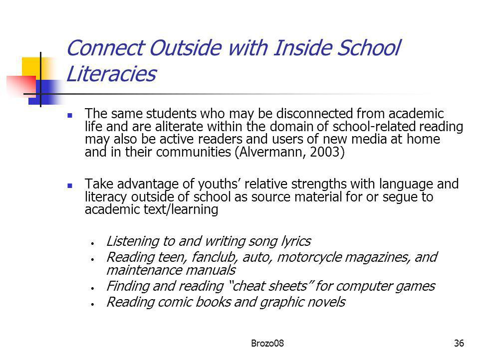 Connect Outside with Inside School Literacies