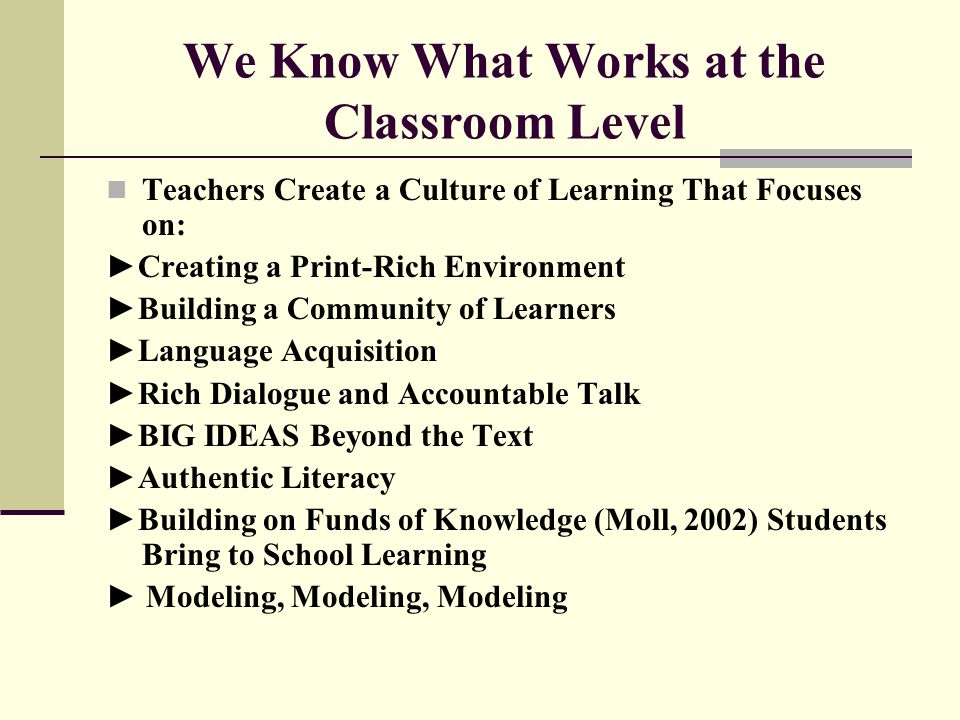 We Know What Works at the Classroom Level