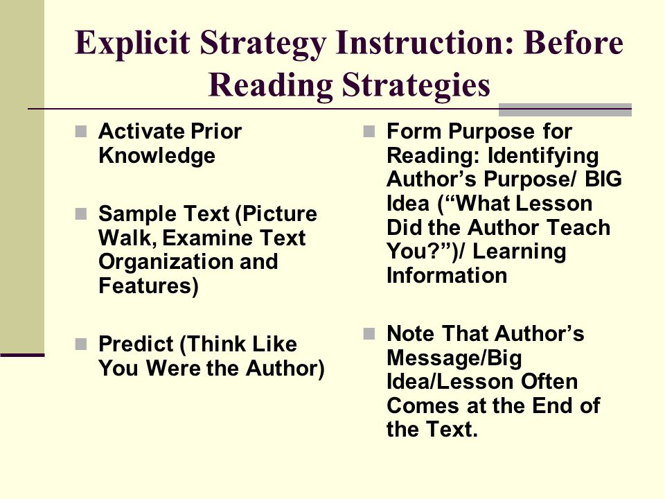 Explicit Strategy Instruction: Before Reading Strategies