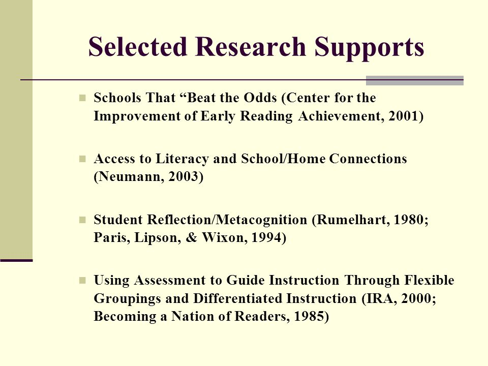 Selected Research Supports