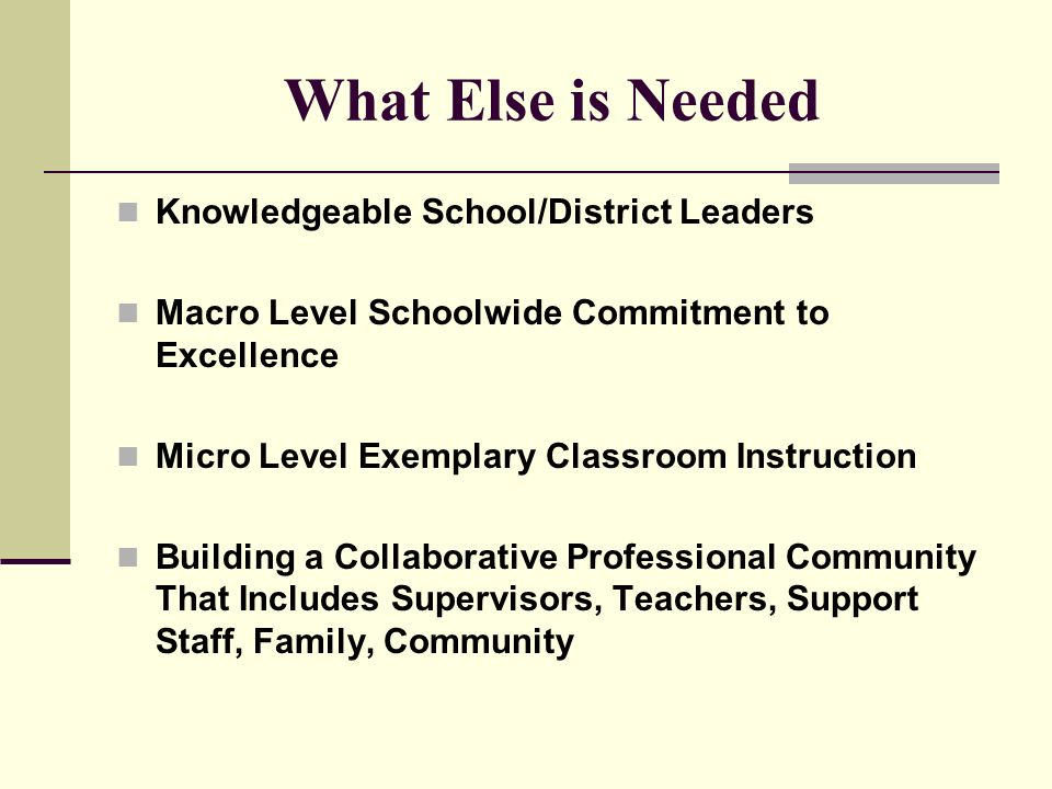 What Else is Needed Knowledgeable School/District Leaders