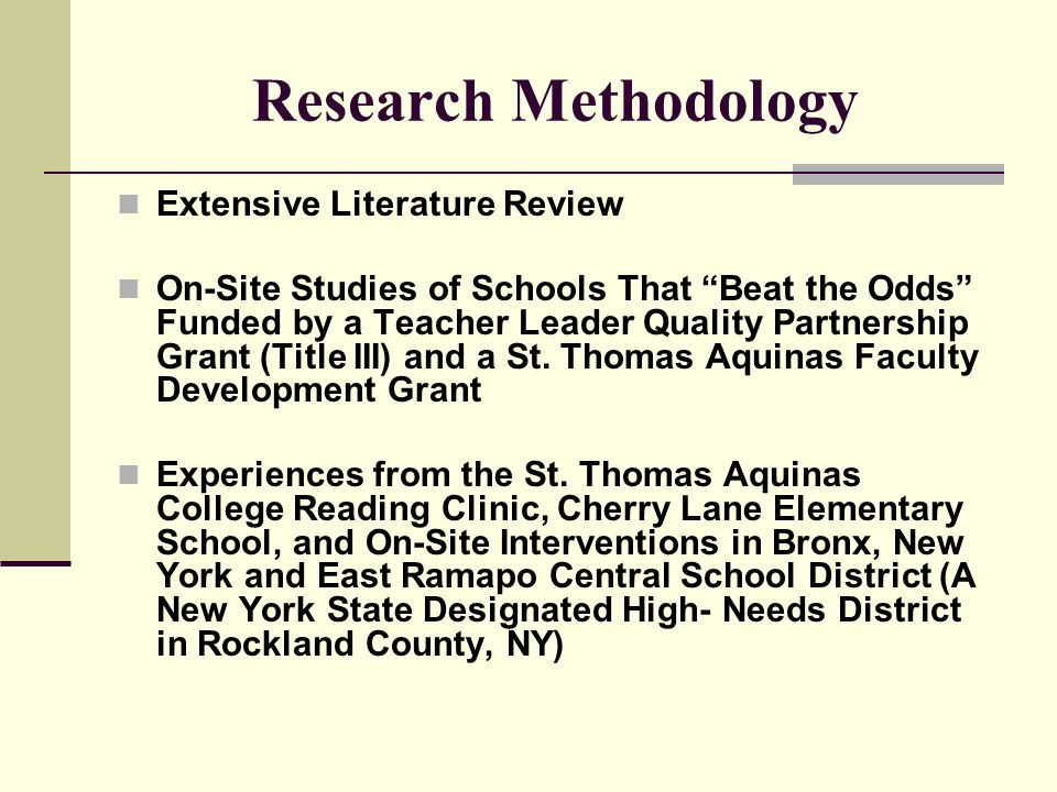 Research Methodology Extensive Literature Review