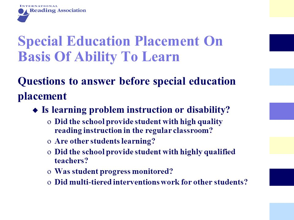 Special Education Placement On Basis Of Ability To Learn