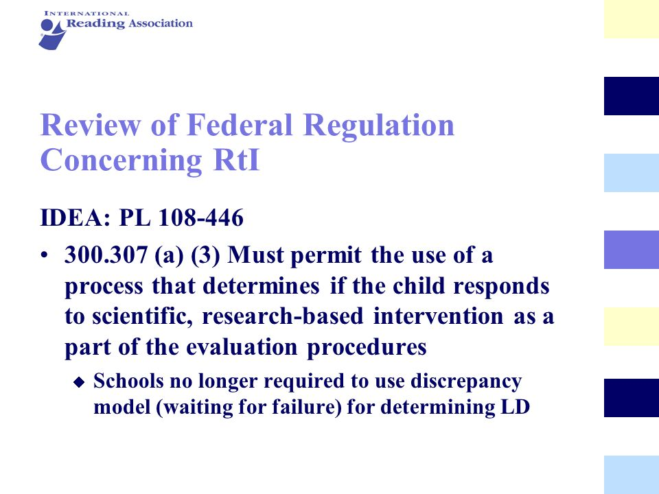 Review of Federal Regulation Concerning RtI