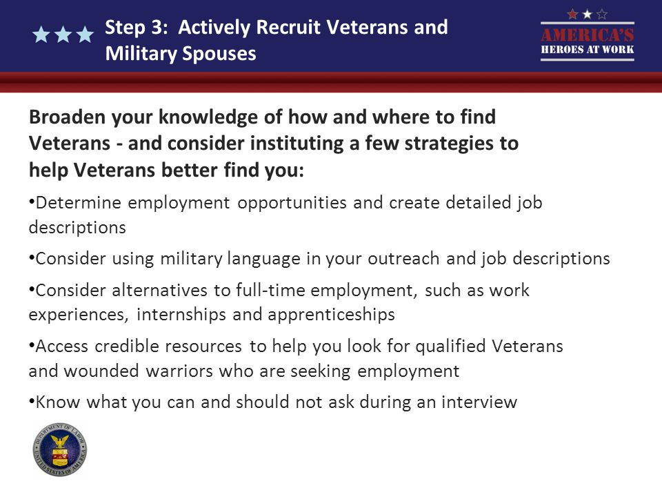 Step 3: Actively Recruit Veterans and Military Spouses