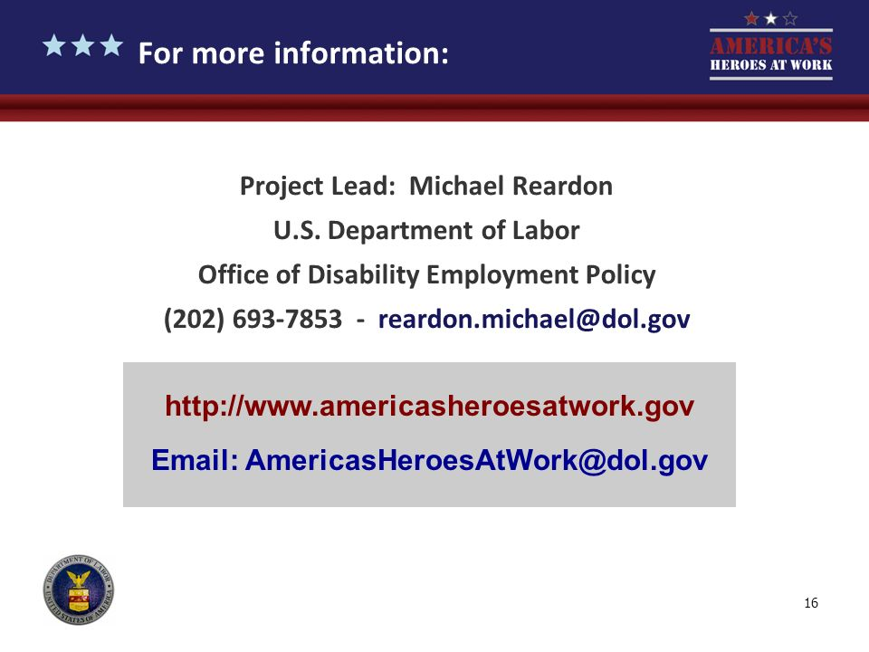 For more information: Project Lead: Michael Reardon