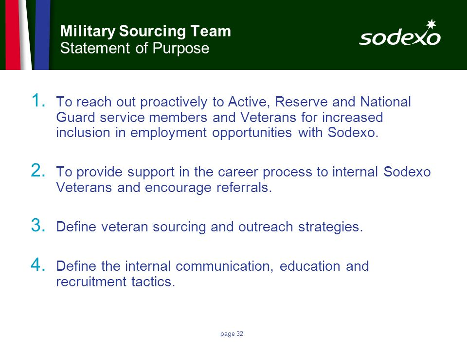 Military Sourcing Team Statement of Purpose