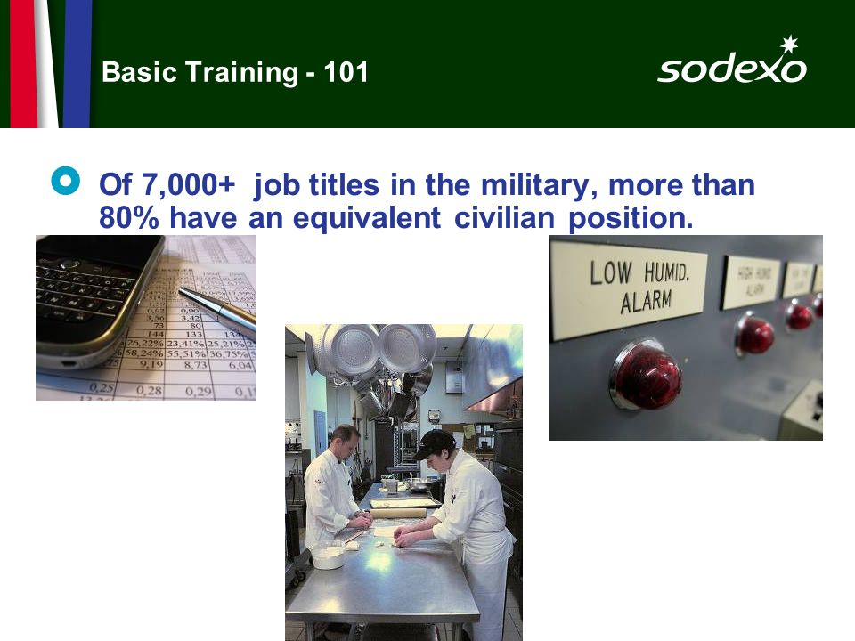 Basic Training - 101 Of 7,000+ job titles in the military, more than 80% have an equivalent civilian position.