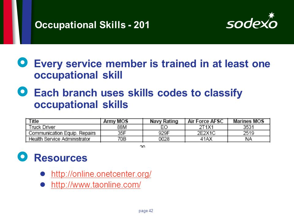 Every service member is trained in at least one occupational skill