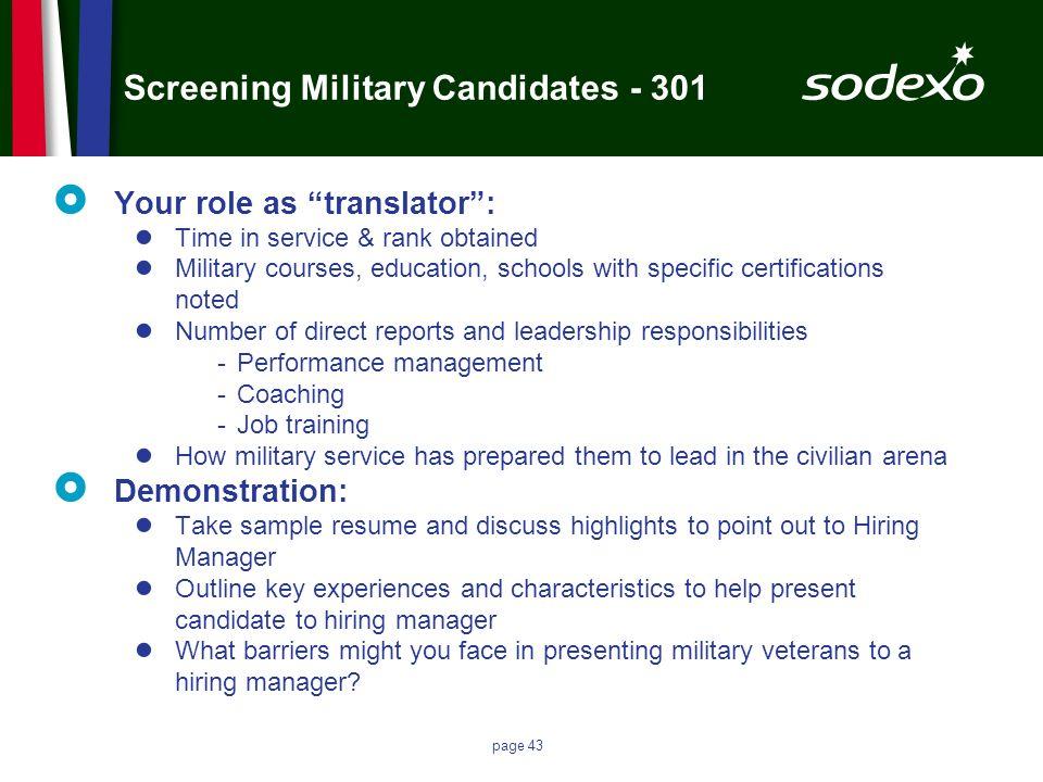 Screening Military Candidates - 301