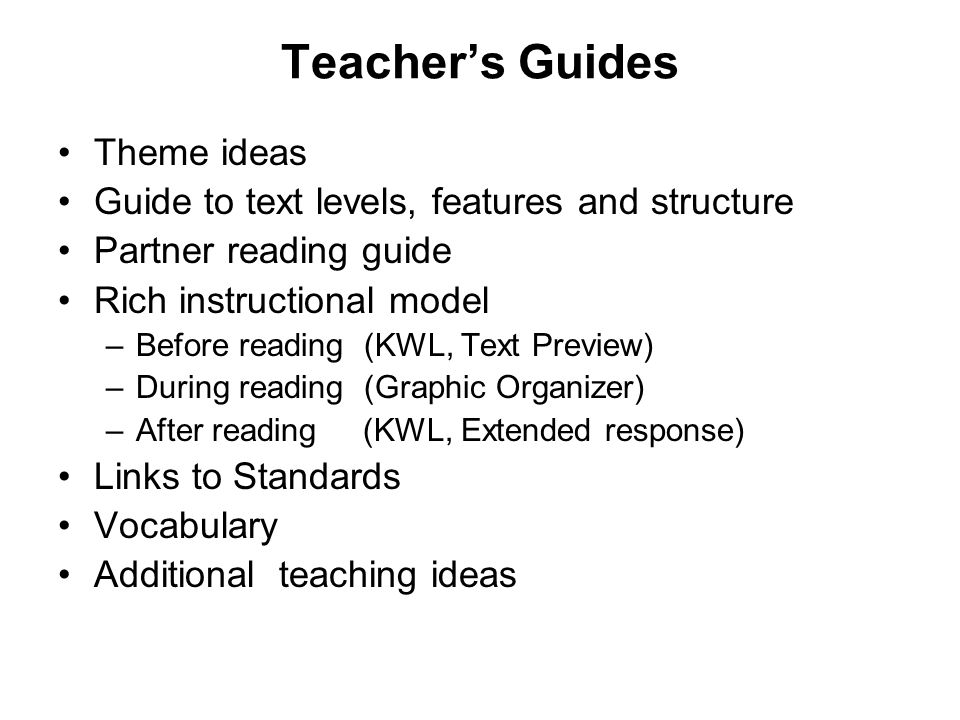 Teacher's Guides Theme ideas