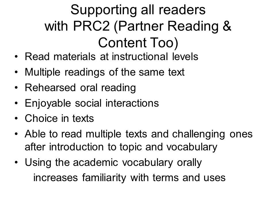 Supporting all readers with PRC2 (Partner Reading & Content Too)