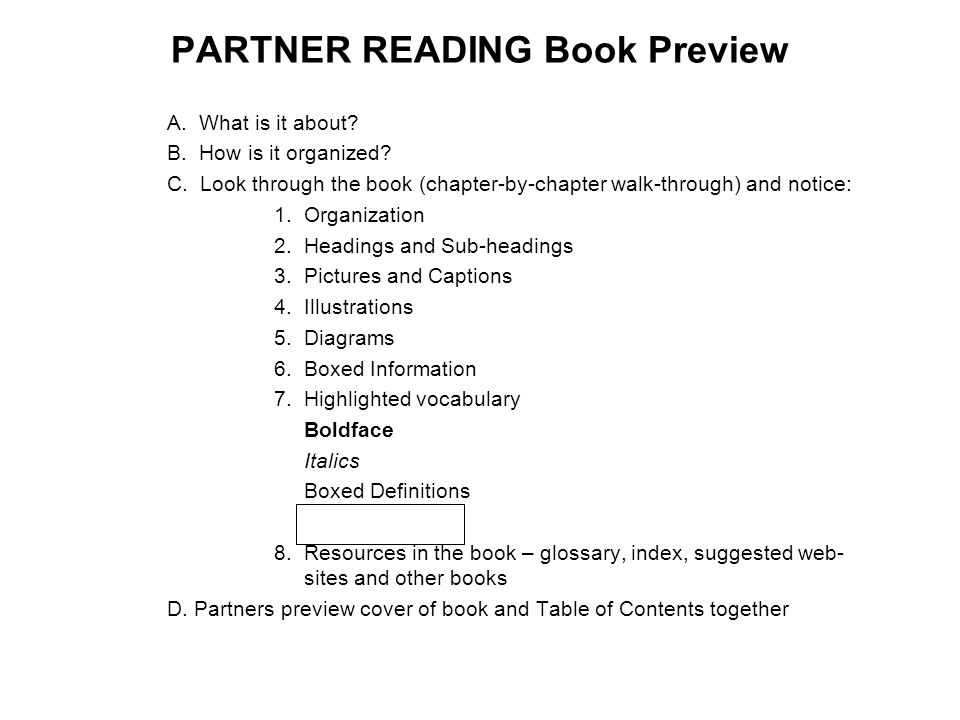 PARTNER READING Book Preview