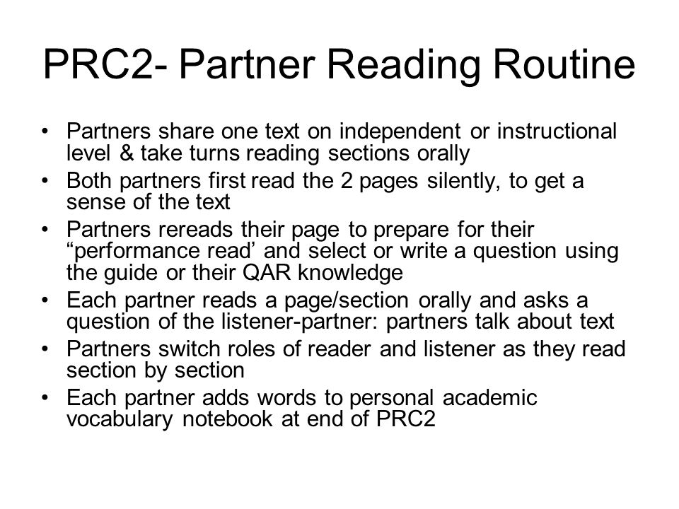 PRC2- Partner Reading Routine