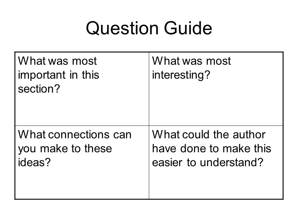 Question Guide What was most important in this section