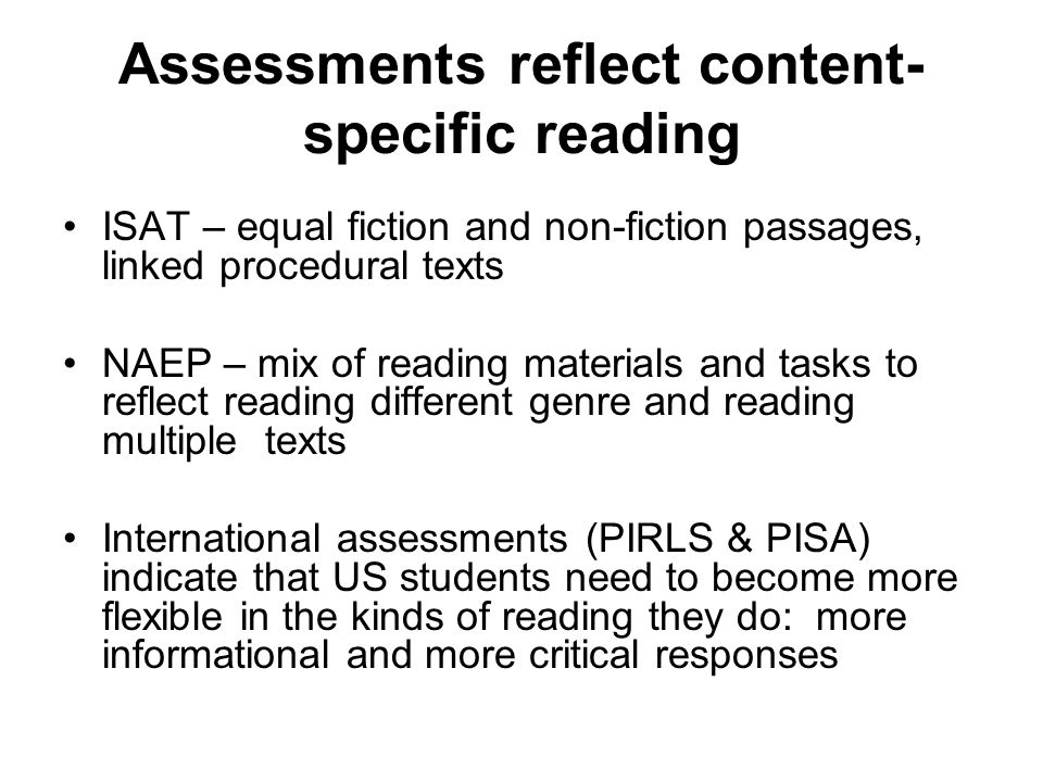 Assessments reflect content-specific reading