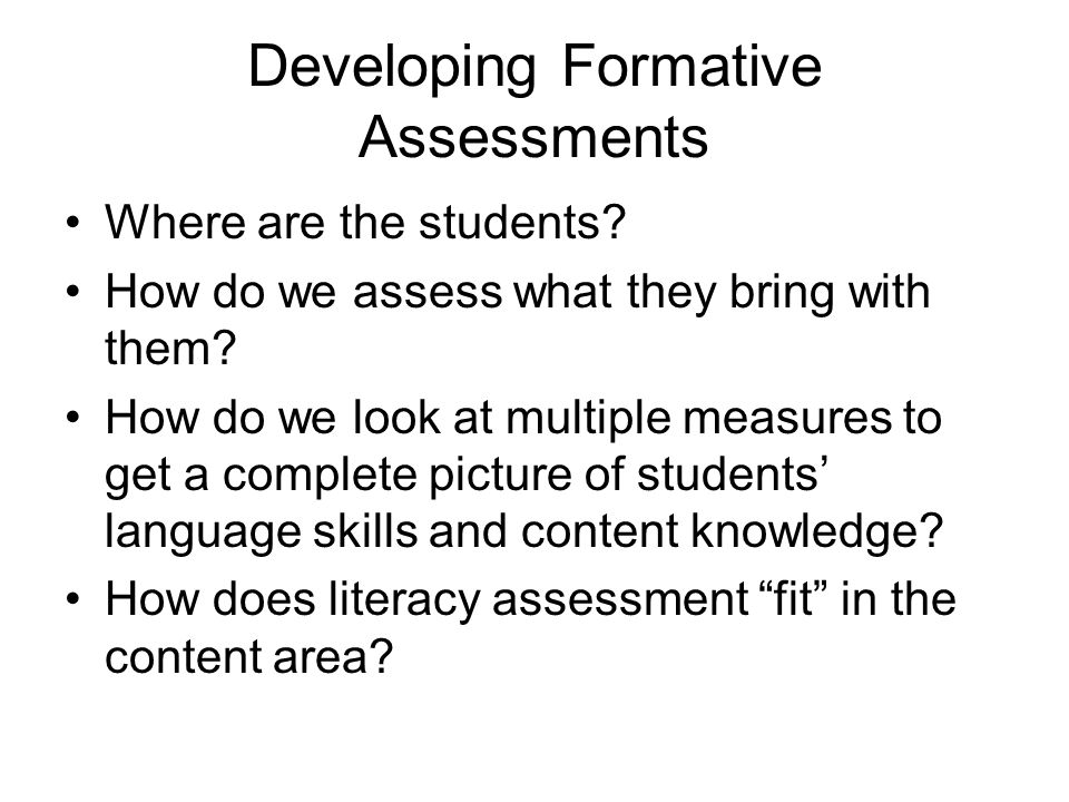 Developing Formative Assessments