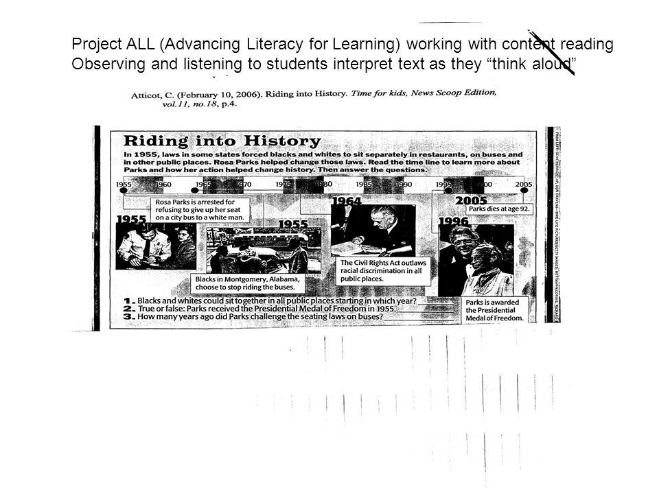 Project ALL (Advancing Literacy for Learning) working with content reading