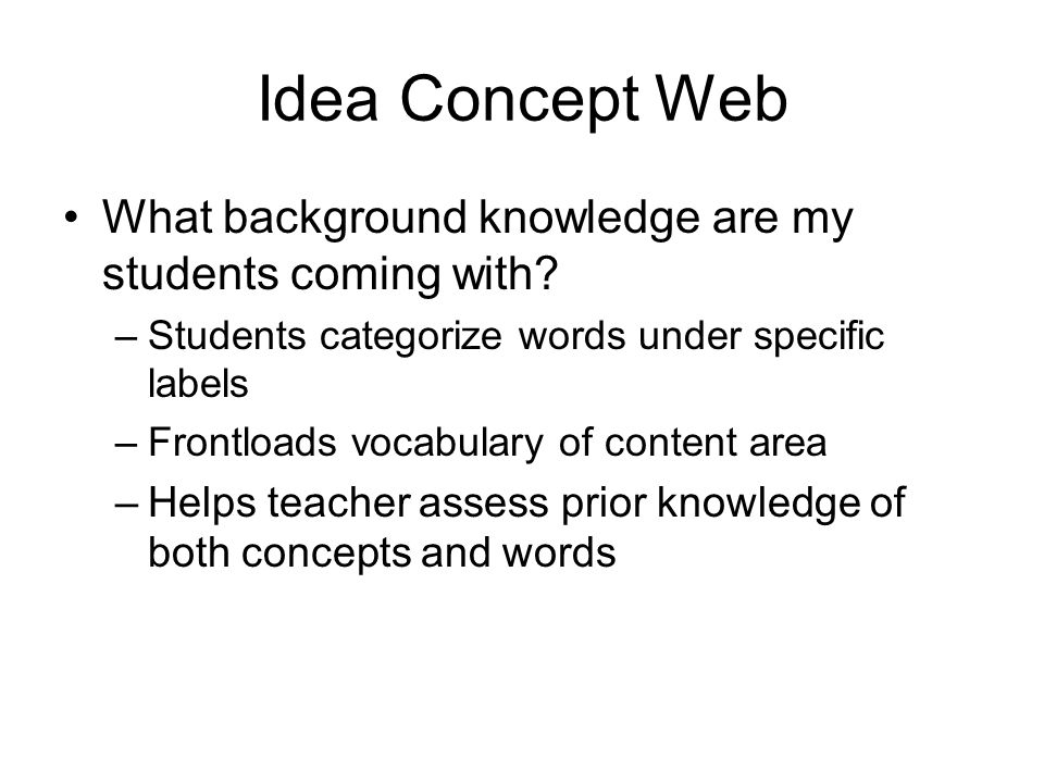 Idea Concept Web What background knowledge are my students coming with Students categorize words under specific labels.