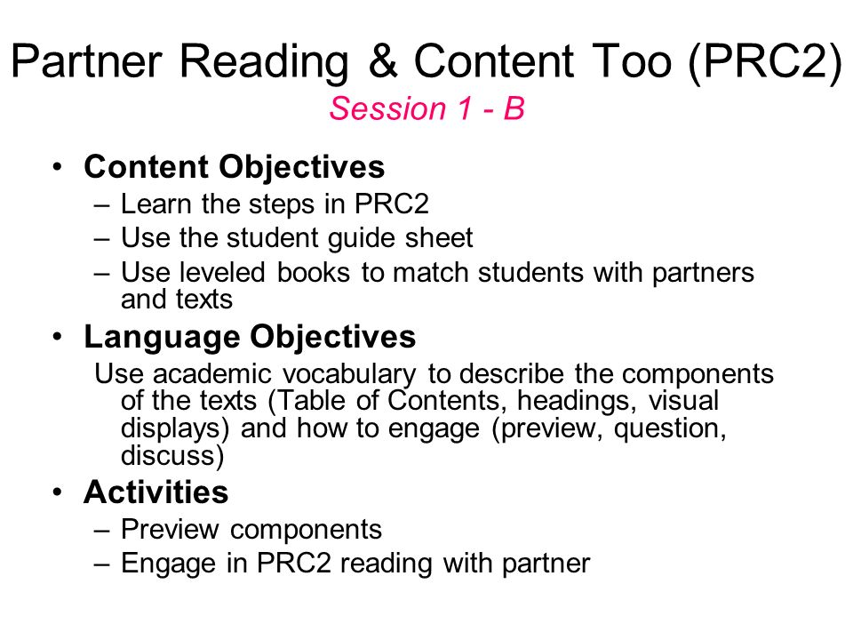 Partner Reading & Content Too (PRC2) Session 1 - B