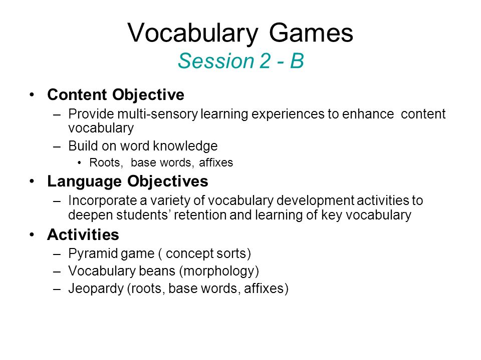 Vocabulary Games Session 2 - B