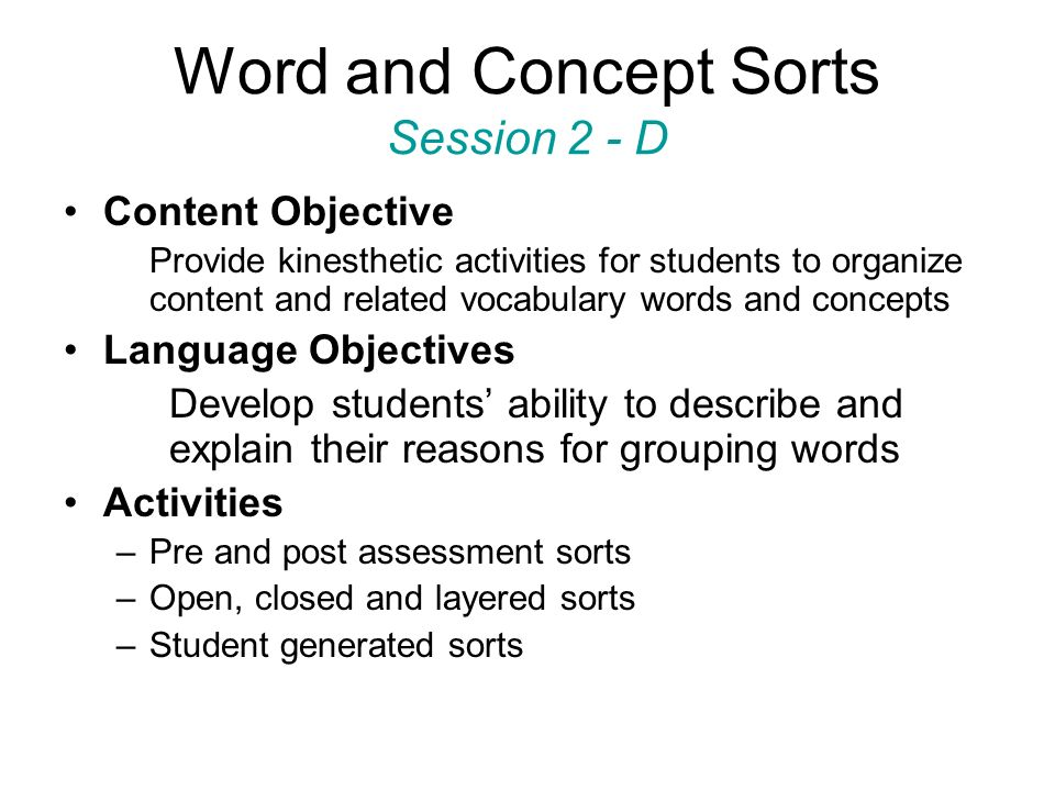 Word and Concept Sorts Session 2 - D
