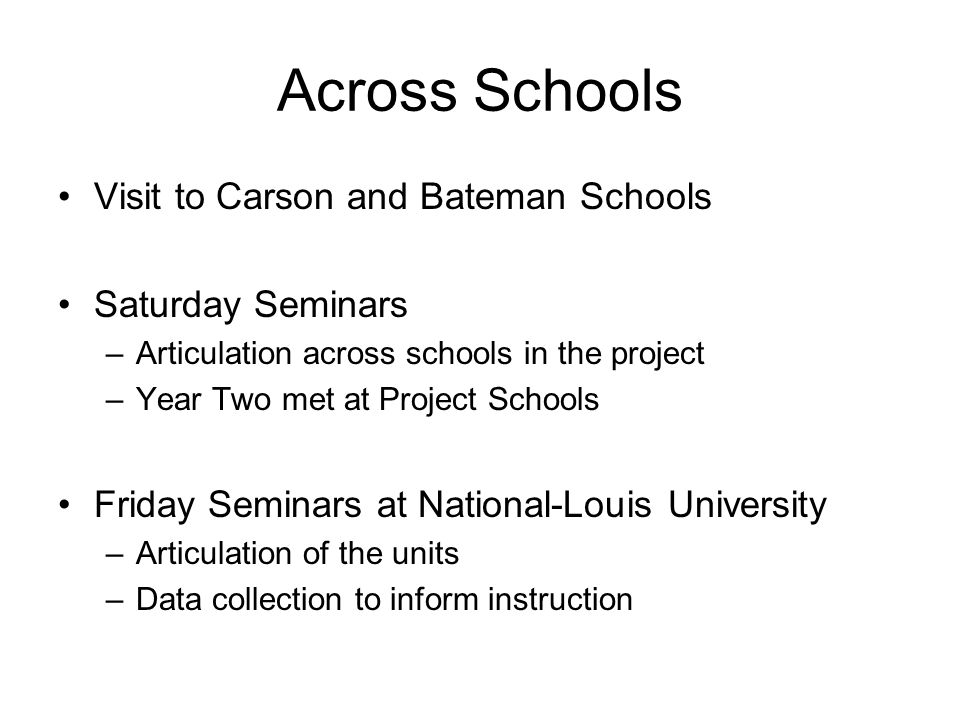 Across Schools Visit to Carson and Bateman Schools Saturday Seminars