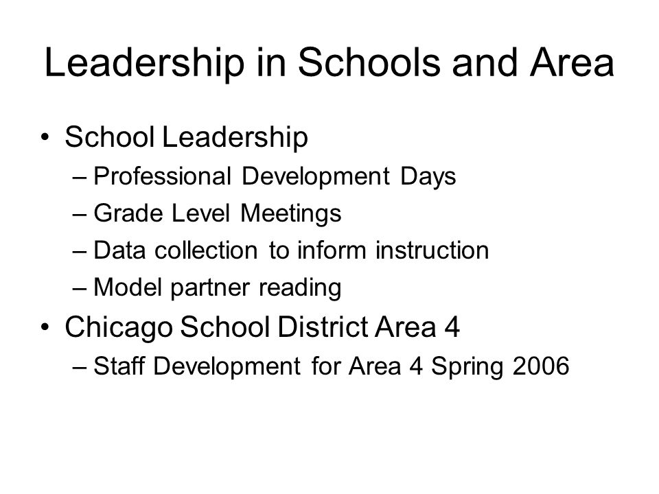 Leadership in Schools and Area
