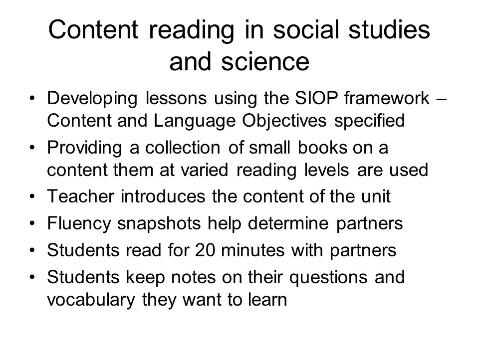 Content reading in social studies and science