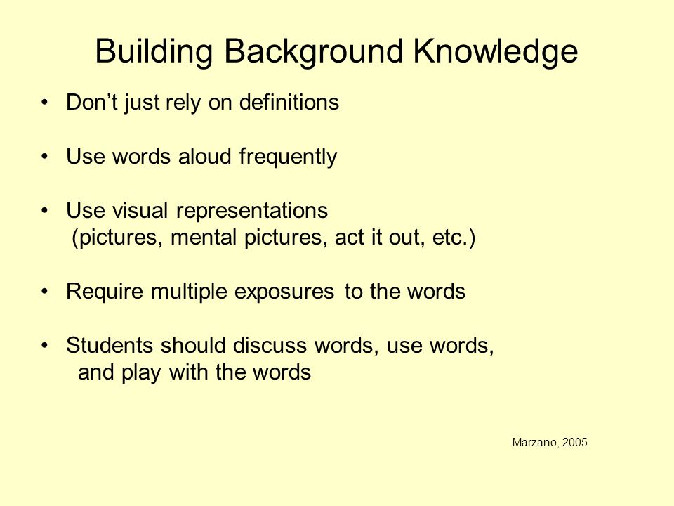 Building Background Knowledge