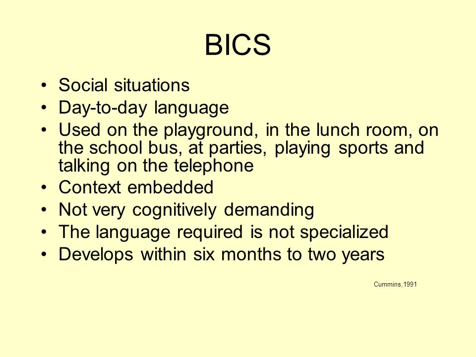 BICS Social situations Day-to-day language