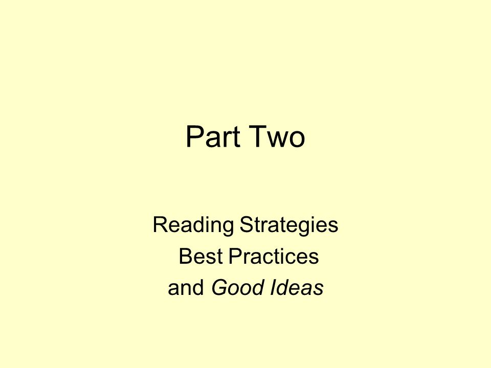 Reading Strategies Best Practices and Good Ideas