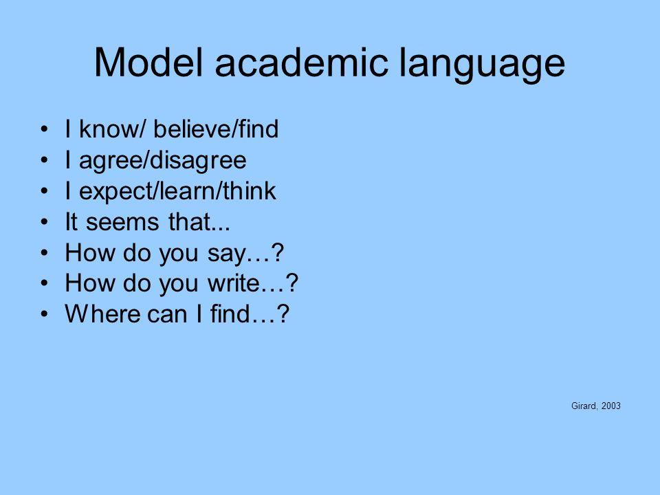 Model academic language