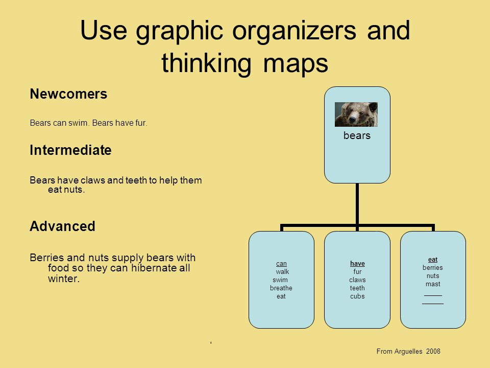 Use graphic organizers and thinking maps