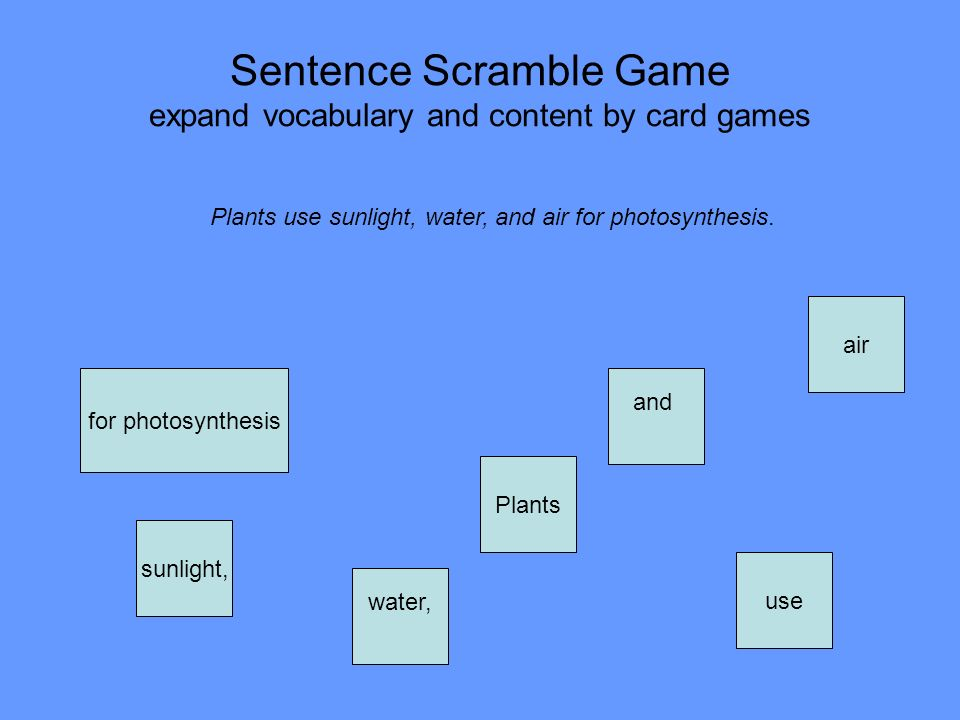 Sentence Scramble Game expand vocabulary and content by card games