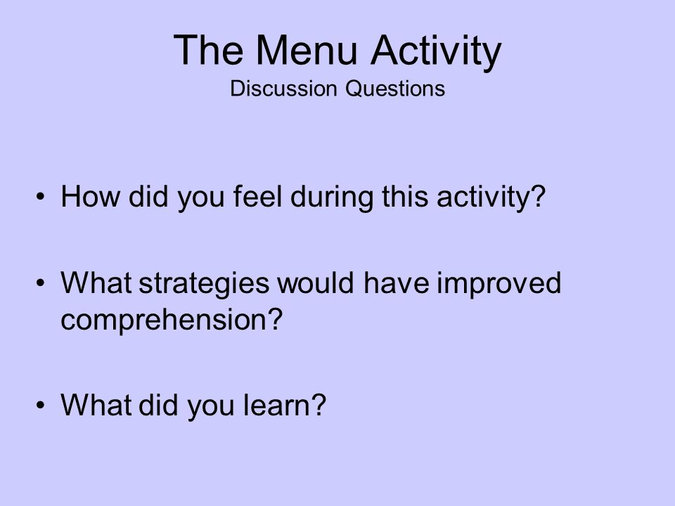 The Menu Activity Discussion Questions