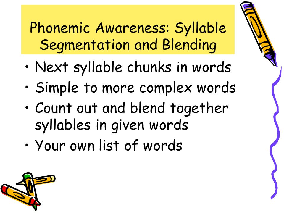 Phonemic Awareness: Syllable Segmentation and Blending