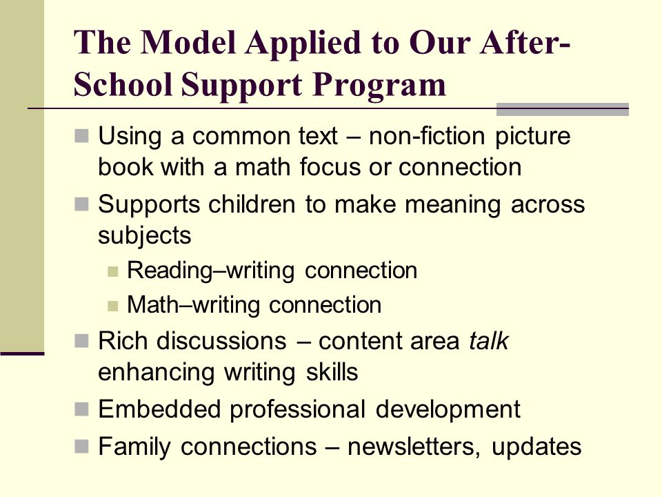 The Model Applied to Our After-School Support Program