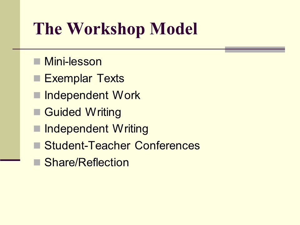 The Workshop Model Mini-lesson Exemplar Texts Independent Work