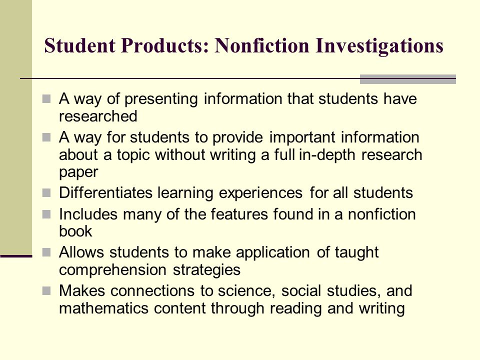 Student Products: Nonfiction Investigations