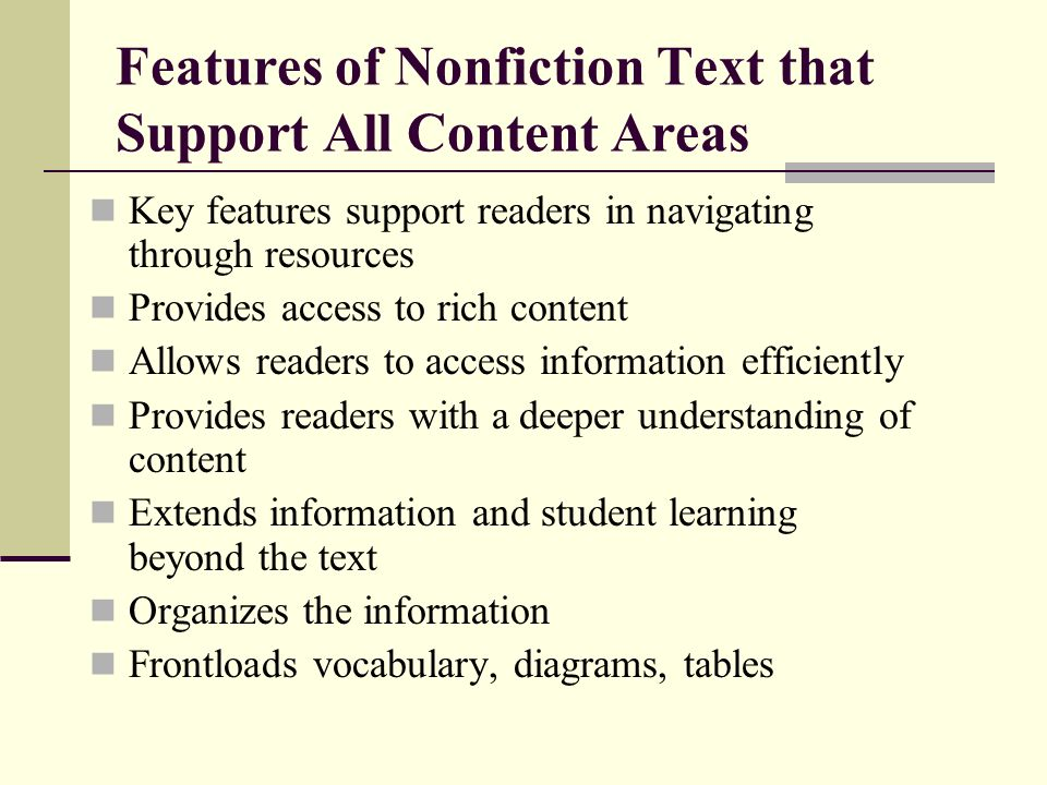 Features of Nonfiction Text that Support All Content Areas