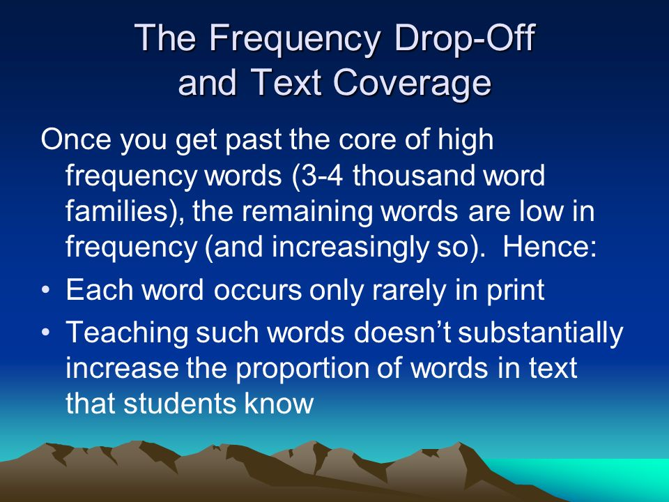The Frequency Drop-Off and Text Coverage