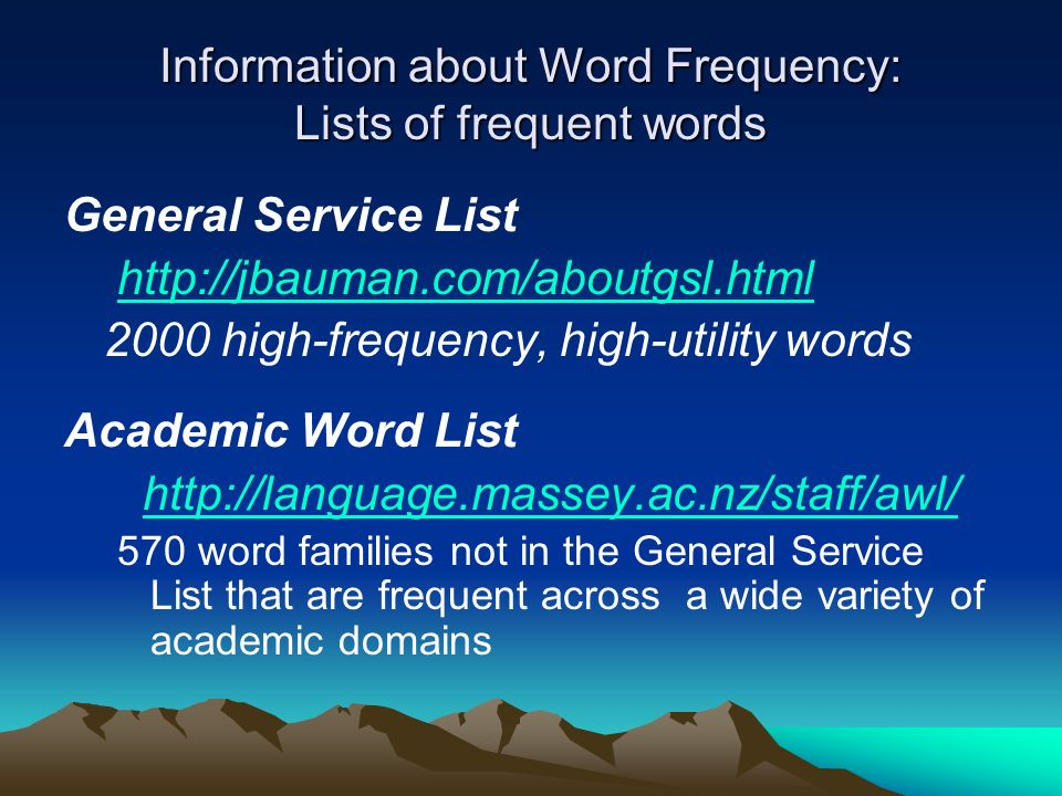 Information about Word Frequency: Lists of frequent words