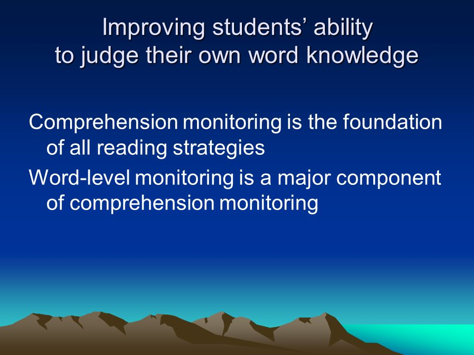 Improving students' ability to judge their own word knowledge
